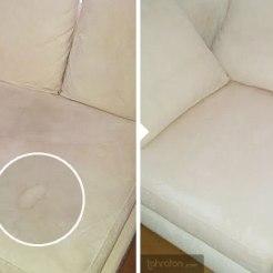 Tahraton putsasi lika-layerit ja yllättyi sohvan alkuperäisestä väristä. Tulikin ilmi, että alkuperäinen sävy ei ollutkaan kellertävä, vaan vaalea – jopa kauniin kermainen.