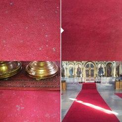 Uspenski-katedralin pitkien käytävämattojen puhdistus ja tahranpoisto.