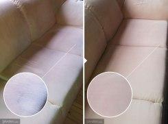 Farkkutahrojen poistoa beigeltä 3-istuttavalta sohvalta